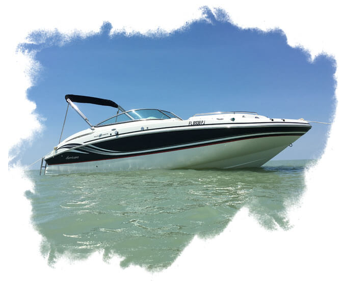 BE - A speed boat on an ocean