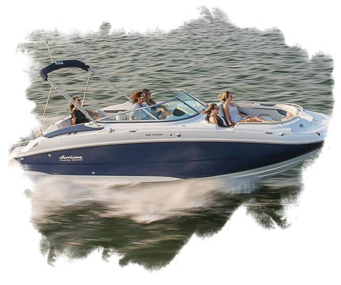 BE - A speeding boat with people in it