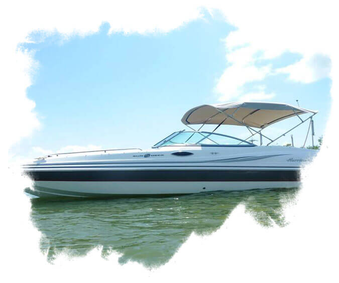 BE - A speed boat with blue streak paint